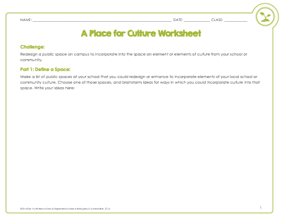 A Place for Culture Worksheet
