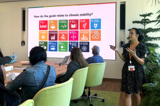 Brittany Jayroe facilitating Climate Week 2019 teacher training