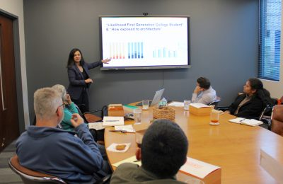 Miriam Solis of UT SOA training internship hosts from BLGY Architecture